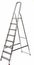 Alu-Stehleiter 8 Stufen / Sprossen, ECO, 250x55x22cm, Aluminium, Marke: Szagato (Stehleiter, Anlegeleiter, Aluleiter, Kombileiter, Leiter)
