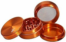 Alugrinder Black Leaf 4tlg in Metalldose Ø50mm Grinder - Orange- Crusher PatchouliWorld