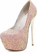ALUK- Europa und die Vereinigten Staaten Wild Fashion Bequeme High-Heels Sandalen Schuhe ( Farbe : Pink , größe : 36 )