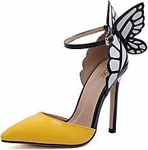 ALUK- Frühling und Sommer - in Europa und Amerika Sexy High-heeled spitze Schuhe Schmetterling Flügel ( Farbe : Gelb , größe : 37 )