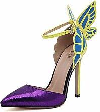 ALUK- Frühling und Sommer - in Europa und Amerika Sexy High-heeled spitze Schuhe Schmetterling Flügel ( Farbe : Lila , größe : 36 )