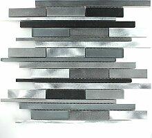 Aluminium Alu Glas Design Mosaik Fliesen Schwarz