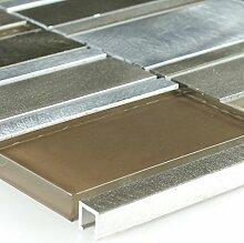 Aluminium Alu Glas Mosaik Fliese Braun Beige