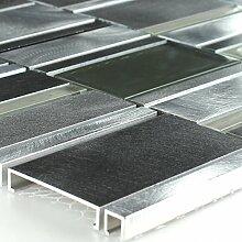 Aluminium Alu Glas Mosaik Fliese Grau Silber