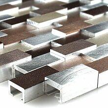 Aluminium Alu Metall 3D Mosaik Fliese Kupfer Braun