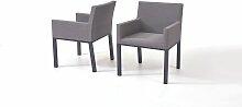 Aluminium Gartenmöbel Stuhl Set in Graubraun -