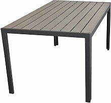 Aluminium Gartentisch Balkonmöbel Gartenmöbel Terrassenmöbel Esszimmertisch mit Polywood Tischplatte 150x90cm Grau / Grau