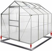 Aluminium Gewächshaus Alu 7,63m³ mit Fundament Treibhaus Gartenhaus Frühbeet Pflanzenhaus Aufzucht 250x190cm ✔ Modellauswahl