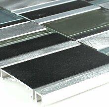Aluminium Glas Mosaik Fliese Blau Mix