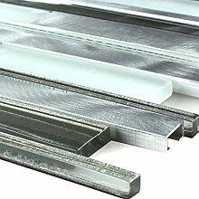 Aluminium Glas Mosaik Silber Grau Brick