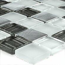 Aluminium Glas Mosaik Silber Grau