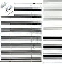 Aluminium Jalousie Alu Jalousette Klemmfix Fenster Tür Rollo ohne Bohren Lamellen Vorhang Weiß Silber Breite 40 cm bis 240 cm Länge 130 cm 160 cm und 220 cm Metall Klemmträger Klemmhalter Sichtschutz Sonnenschutz (100 x 160 cm)