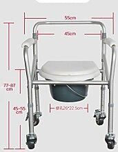 Aluminium-Legierung Header-Comoda Comoda von Schwangeren Stahl zusammenklappbar ältere Menschen mit Behinderungen Rollstuhl WC-BAD Stuhl Stuhl white aluminum alloy