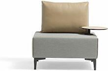 Aluminium Lounge Einzelsofa in Grau, gepolstert -