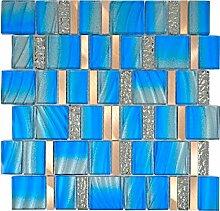 Aluminium Mosaik Glasmosaik ALU blau Wand