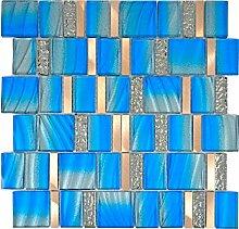 Aluminium Mosaik Glasmosaik ALU blau Wand Küche