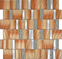 Aluminium Mosaik Glasmosaik ALU braun Wand