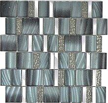 Aluminium Mosaik Glasmosaik ALU grau Wand