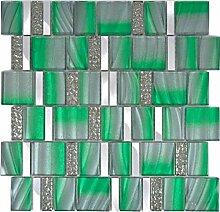 Aluminium Mosaik Glasmosaik ALU grün Wand Küche
