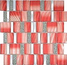 Aluminium Mosaik Glasmosaik ALU rot Wand