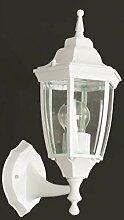 Aluminium Wandlampe außen Weiß rustikal Glas E27