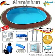 Aluminiumpool Ovalpool 5,30 x 3,20 x 1,50 Set Schwimmbecken Alu Swimmingpool 5,3 x 3,2 x 1,5 m Ovalbecken Alupool Fertigpool oval Pool Aluminium Pools Einbaupool Gartenpool Sets Aussenpool Komplettse