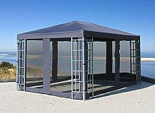 Aluoptik Pavillon 3x4m Anthrazit mit Seitenwandse