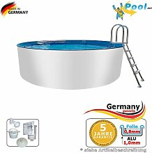 Alupool 2,50 x 1,25 Pool Rundpool Swimmingpool 2,5 x 1,2 Schwimmbecken Rundbecken rund Pools Gartenpool Aufstellbecken Einbaupool Aufstellpool 250 cm Set Aluminium Schwimmbad