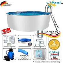 Alupool 3,60 x 1,25 Set Pool Rundpool Swimmingpool 3,6 x 1,2 Schwimmbecken Rundbecken rund Pools Gartenpool Aufstellbecken Einbaupool Aufstellpool 360 cm Set Aluminium Sets Komplettse