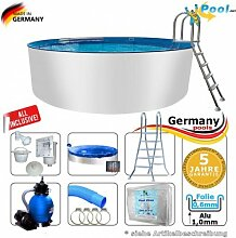 Alupool 6,00 x 1,50 Set Pool Rundpool 6 m Schwimmbecken 6,0 x 1,50 Swimmingpool Rundbecken rund Pools Aufstellpool Gartenpool Einbaupool Aufstellbecken 600 cm Set Aluminium Komplettse