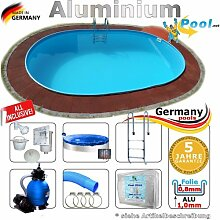 Alupool Ovalpool 6,10 x 3,60 x 1,25 Set Schwimmbecken Alu Ovalbecken 6,1 x 3,6 x 1,2 m Swimmingpool Aluminiumpool Fertigpool oval Pool Aluminium Pools Einbaupool Gartenpool Sets Aussenpool Komplettse