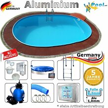 Alupool Ovalpool 7,40 x 3,50 x 1,25 Set Schwimmbecken Alu Ovalbecken 7,4 x 3,5 x 1,2 m Swimmingpool Aluminiumpool Fertigpool oval Pool Aluminium Pools Einbaupool Gartenpool Sets Aussenpool Komplettse