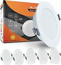 ALUSSO 6 x 6W LED Einbaustrahler Flach IP44 Rund