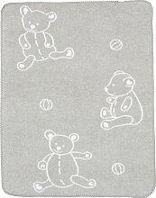 Alvi Babydecke Teddy mit UV-Schutz 50+ 75x100 cm grau