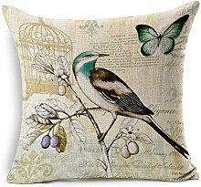 AlvisWalt Dekokissenbezug mit Vogel und Blume,