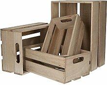 AmaCasa Holzkisten 4er Set Aufbewahrungs-Kiste aus
