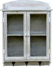 amadeco Wundervoller Wandschrank Hängeschrank Küchenschrank Wandgarderobe Garderobe mit 3 Haken und Glastür - Shabby Chic - Hellgrau - 45 x 60cm