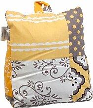 Amadeo Novell Türstopper bedruckt, Baumwolle, Weiß, Gelb und Grau, 2x 22x 25cm