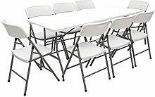 AMANKA Garten Sitzgruppe - 180 cm Tisch mit 8