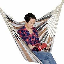 AMANKA Hängestuhl 110x145cm XL Hängesessel aus 100% Baumwolle | Hängesitz max. 150KG belastbar | tragbare waschbare Hängematte Beige-Braun