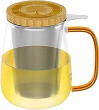 amapodo Teeglas mit Sieb und Deckel 700ml Teetasse