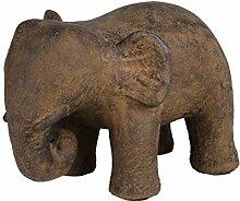 Amaris Elements | Türstopper 'Elise'  Beton Elefant, grau braun, massiv ca. 14 kg, Dekofigur für drinnen und draußen, 20x30xH22 cm