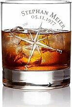AMAVEL Whiskyglas mit Gravur Kompass –