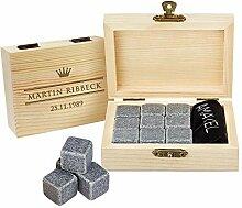 AMAVEL - Whiskysteine in Edler Holzbox Royal -