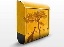Amazing Kenya 39x46x13cm Briefkasten, Briefkästen, Design, Edelstahl, Brief Kasten, Brief Kästen, savanne, afrika, giraffe, tiere, natur