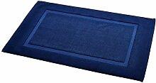 AmazonBasics Badvorleger mit rechteckiger Bordüre, Marineblau, 100% Baumwolle (1.200 g/m²), 51 x 79 cm