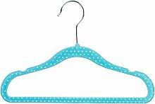 AmazonBasics Kinderkleiderbügel mit Samtbezug, gepunktet, 30er Pack, Blau