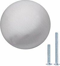 AmazonBasics - Schubladenknopf, Möbelgriff, flach, rund, Durchmesser: 3,47 cm, Satinierter Nickel, 25er-Pack