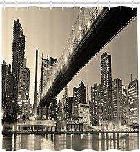 Ambesonne New York Duschvorhang, Queensboro Bridge