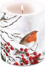 Ambiente Rotkehlchen im Schnee Weihnachten Kerze.